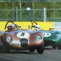 Wil Arif racing in the ex-Fangio C-Type Jaguar