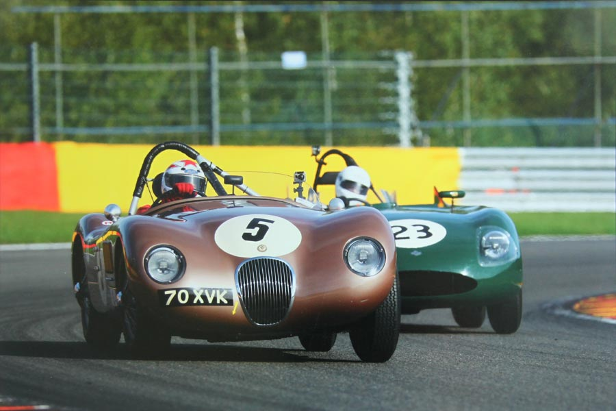 Wil Arif racing in the ex-Fangio C-Type Jaguar