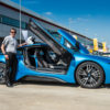 Wil with BMW i8 at Silverstone Circuit